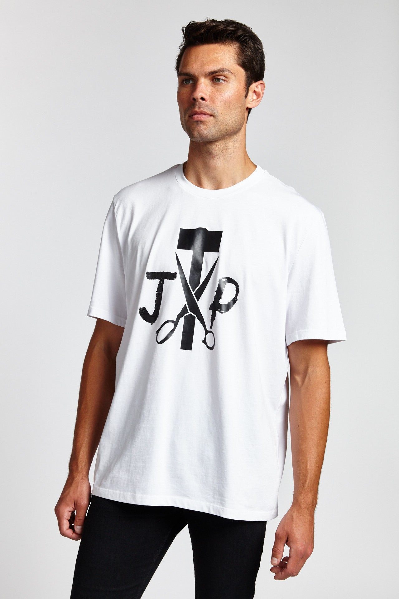 JP CUSTOM LOGO COTTON WHITE PAINT SPLAT LARGE T-SHIRT-SHIRTS-Mundane Official-L-WHITE-Mundane Official