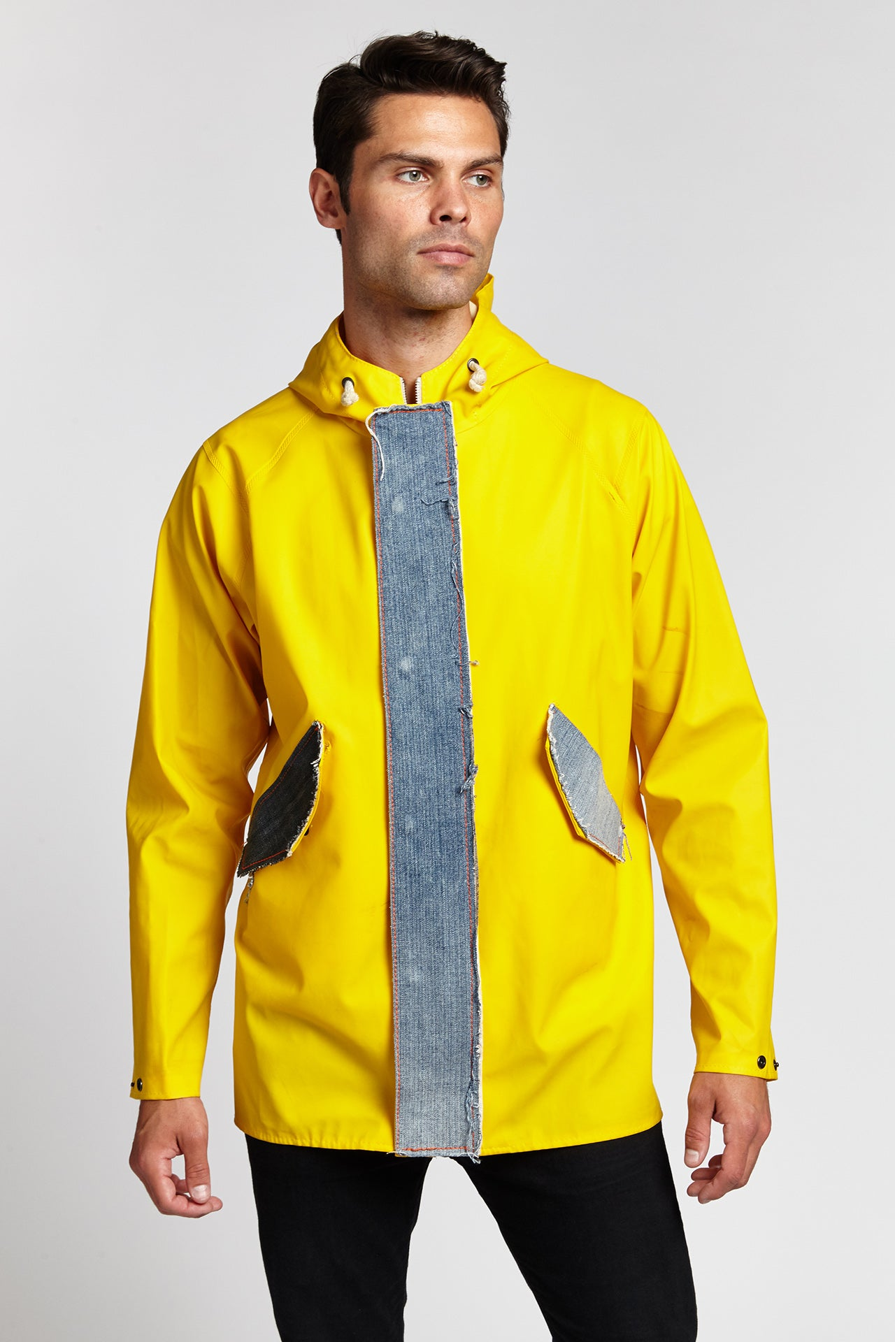 DENIM PATCH HYBRID YELLOW PVC RAINCOAT-JACKETS-Mundane Official-L-YELLOW-Mundane Official