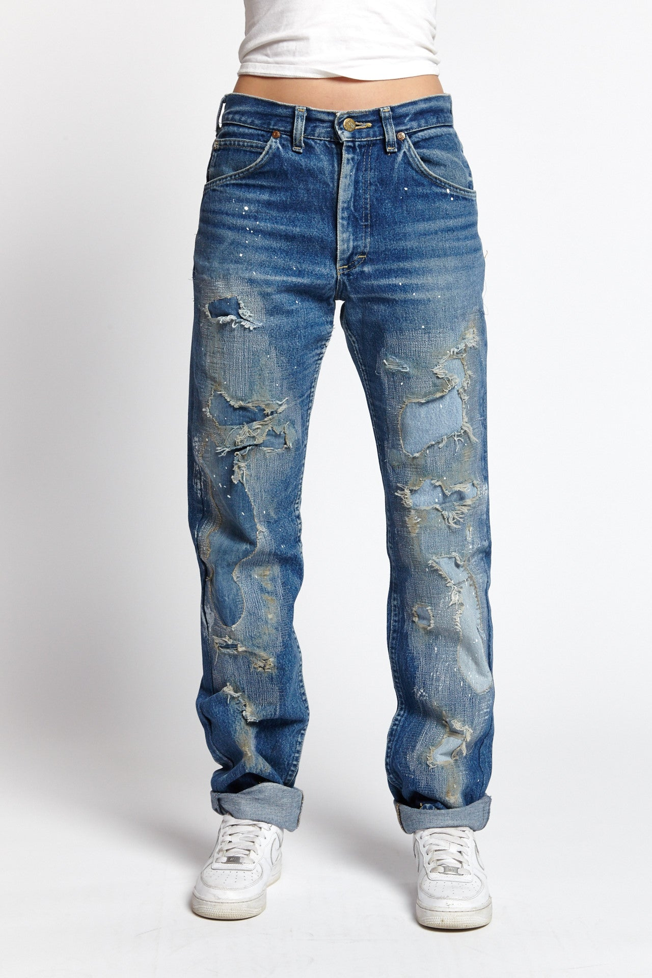 MILLIE RIGHE DISTRESSED COTTON BLUE 30 W JEANS-BOTTOMS-Mundane Official-30-BLUE-Mundane Official