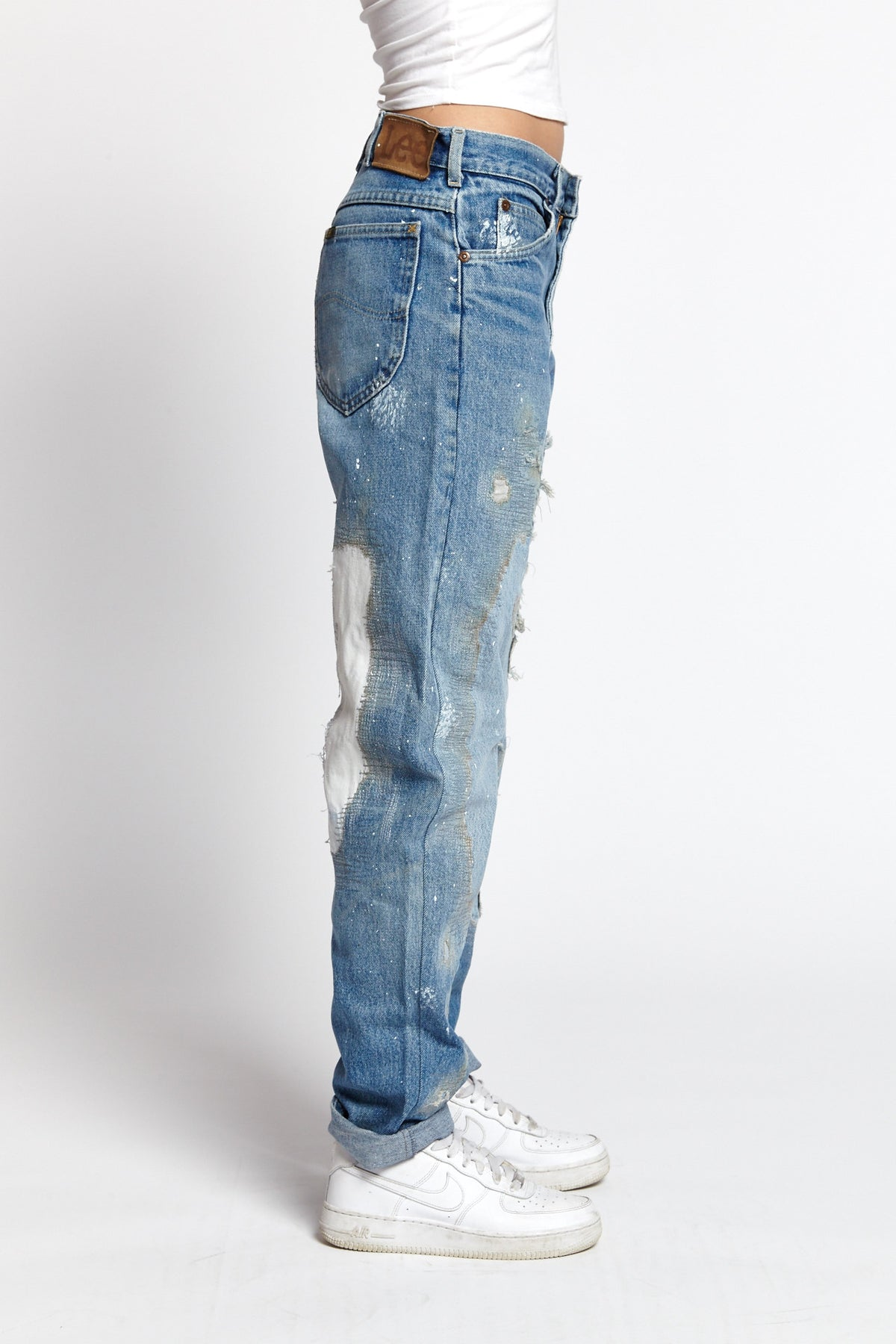MILLIE RIGHE DISTRESSED COTTON BLUE 31 W JEANS-BOTTOMS-Mundane Official-31-BLUE-Mundane Official