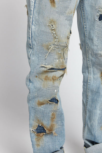 MILLIE RIGHE DISTRESSED COTTON LIGHT BLUE 32 W JEANS-BOTTOMS-Mundane Official-32-BLUE-Mundane Official