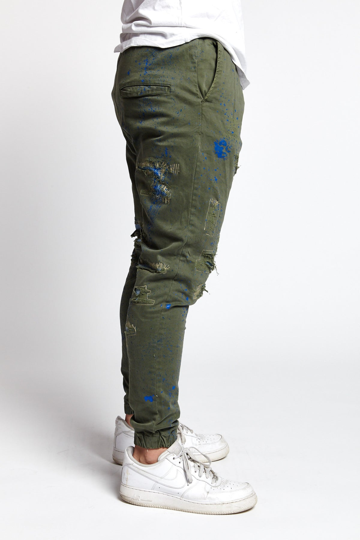 SCHIZZO GREEN SPLATTERED COTTON LARGE JOGGER PANT-BOTTOMS-Mundane Official-L-GREEN-Mundane Official