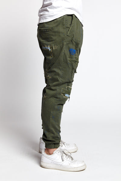 SCHIZZO GREEN SPLATTERED COTTON XL JOGGER PANT-BOTTOMS-Mundane Official-XL-GREEN-Mundane Official
