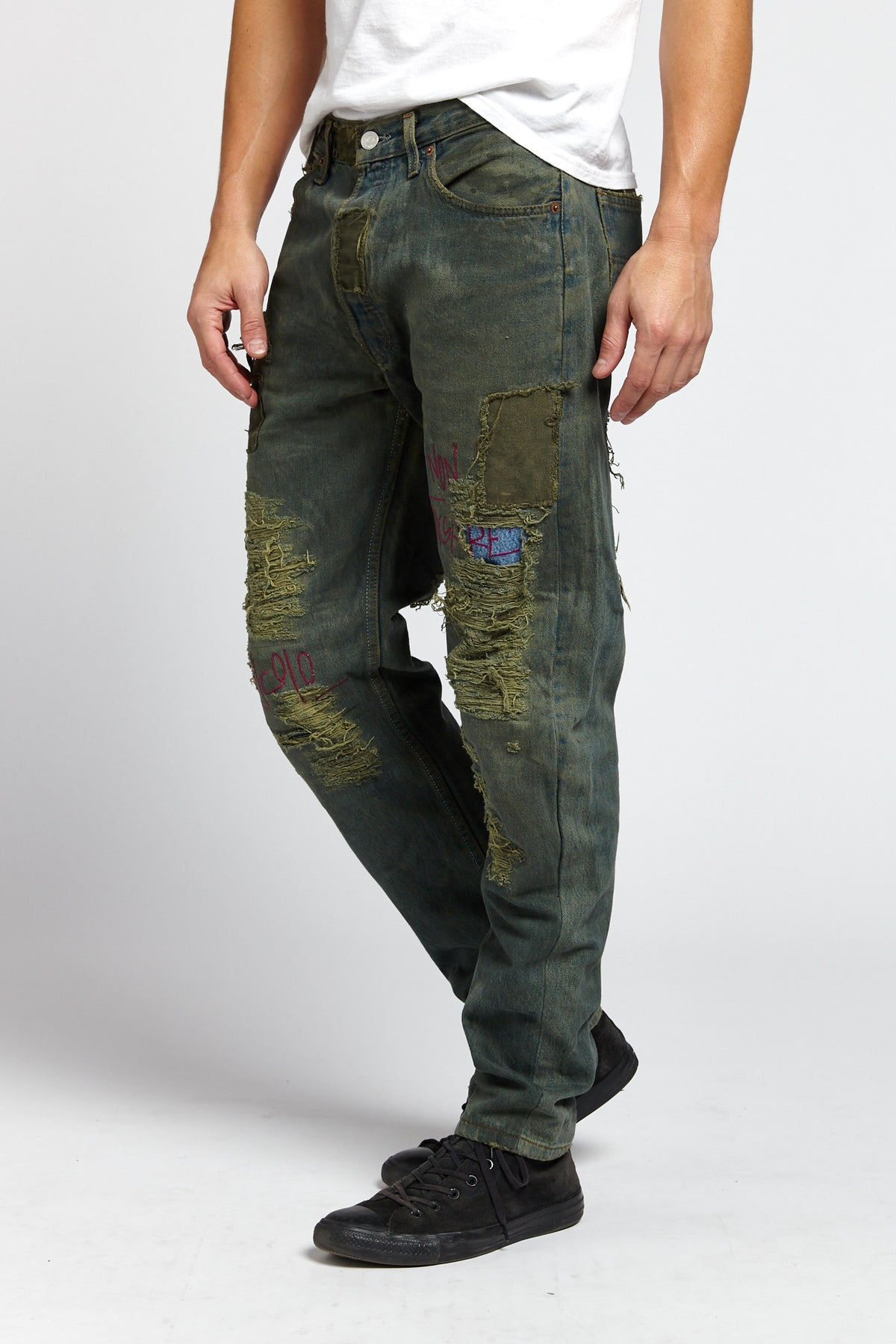 TOSSICO DISTRESSED COTTON BLUE GREEN 33 W JEANS-BOTTOMS-Mundane Official-33-BLUE/GREEN-Mundane Official