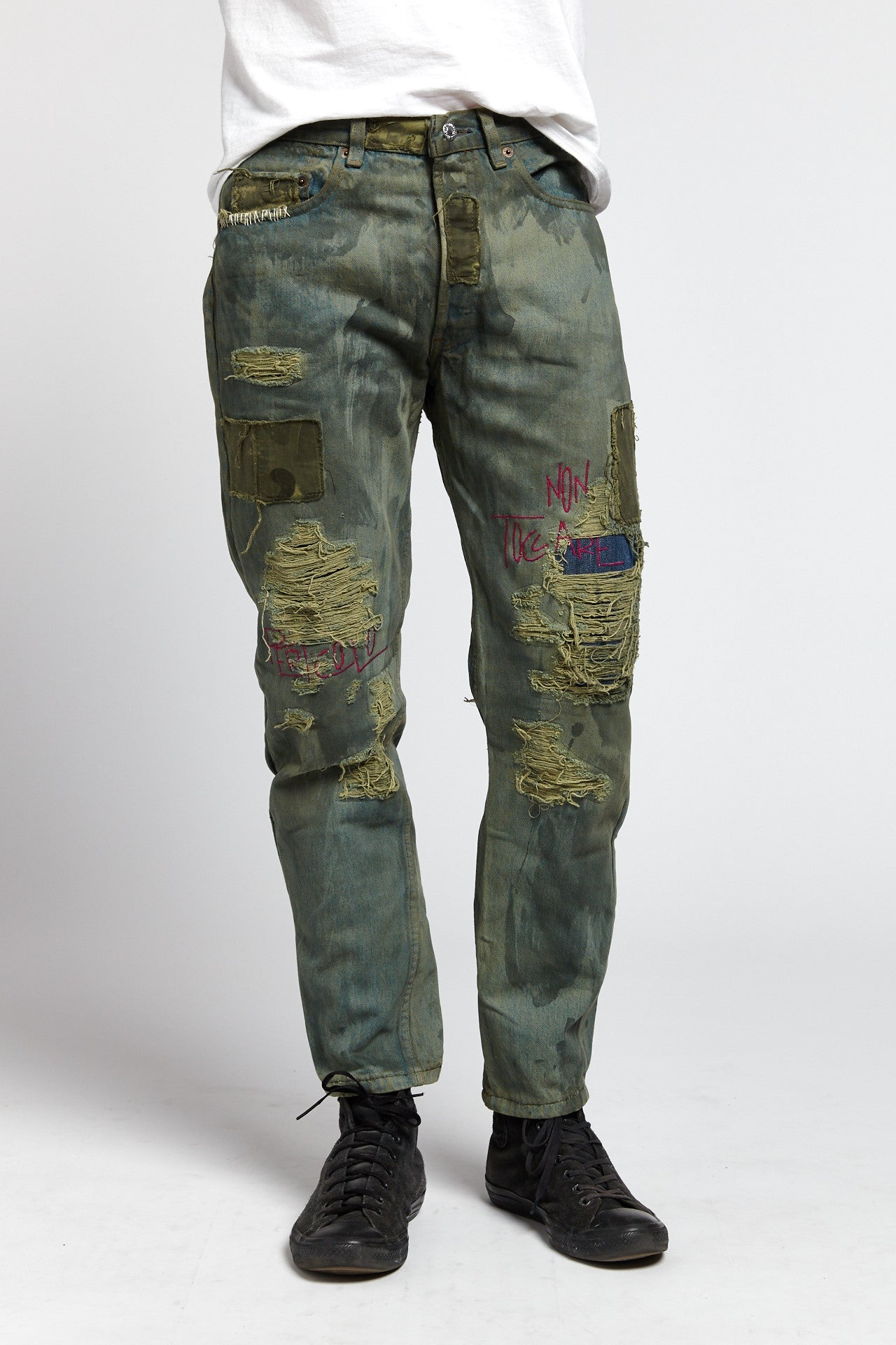 TOSSICO DISTRESSED COTTON BLUE GREEN 31 W JEANS-BOTTOMS-Mundane Official-31-BLUE/GREEN-Mundane Official