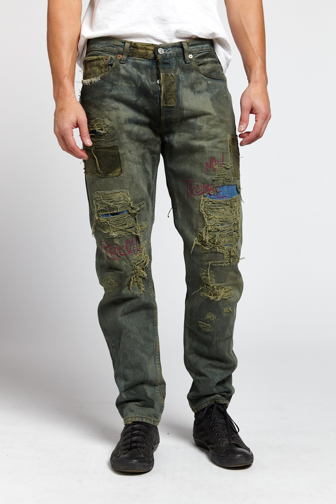 TOSSICO DISTRESSED COTTON BLUE GREEN 34 W JEANS-BOTTOMS-Mundane Official-34-BLUE/GREEN-Mundane Official