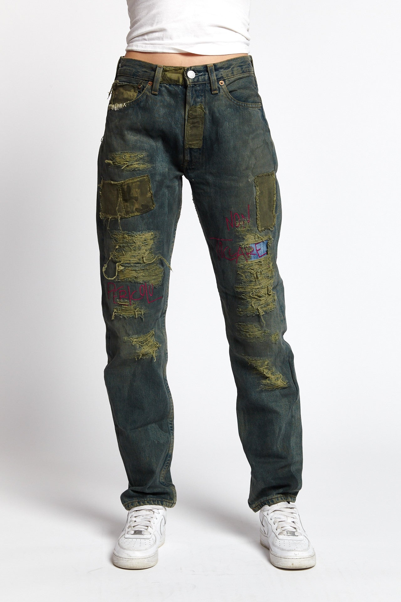 TOSSICO DISTRESSED COTTON BLUE GREEN 29 W JEANS-BOTTOMS-Mundane Official-29-BLUE/GREEN-Mundane Official