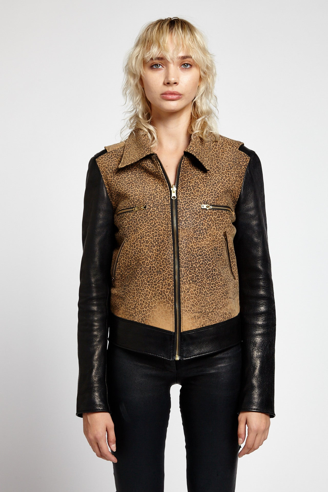 CARNATION LEATHER LEOPARD JACKET-JACKETS-Mundane Official-S/M-Mundane Official