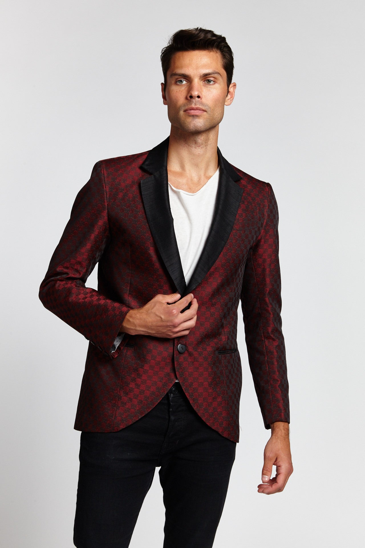 THE HEFF BURGUNDY CHECKERED MEDIUM BLAZER-JACKETS-Mundane Official-M-Mundane Official