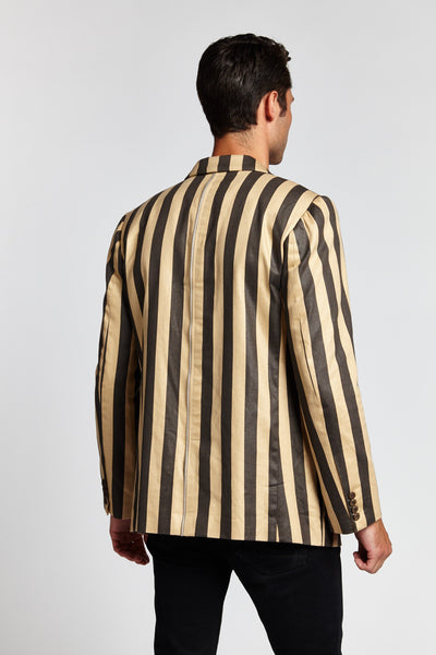 THE LONDON BLACK AND YELLOW STRIPED MEDIUM JACKET BLAZER-JACKETS-Mundane Official-M-Mundane Official