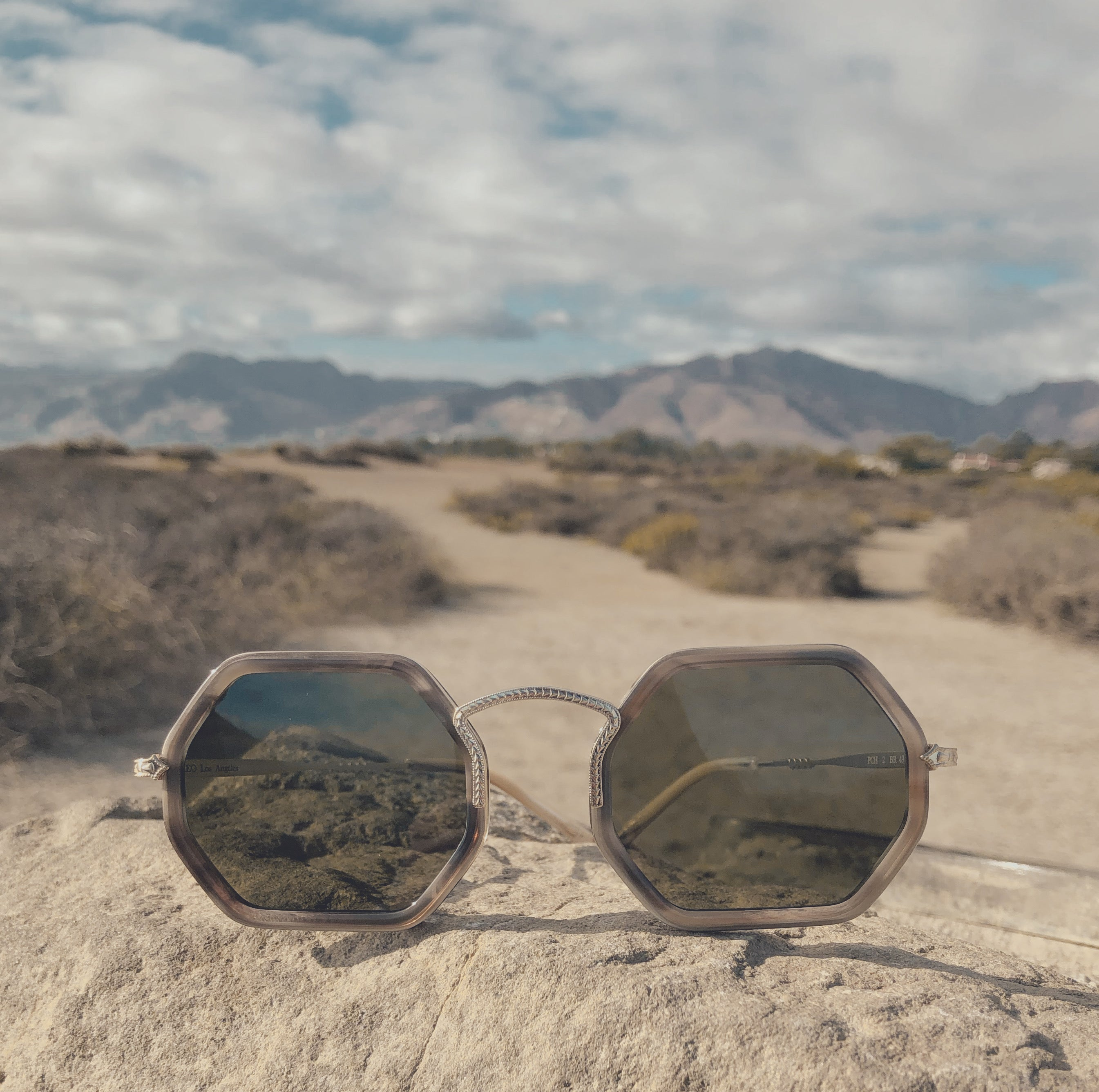 Front view. PCH Brown Hexagonal Sunglasses. Premium Italian acetate. Green lenses manufactured by Carl Zeiss Vision. Dirt trail with mountains behind.