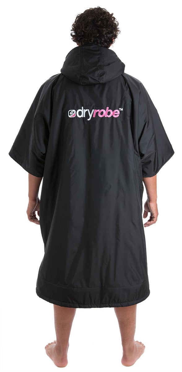 Dryrobe short sleeve changing robe - Black/ pink