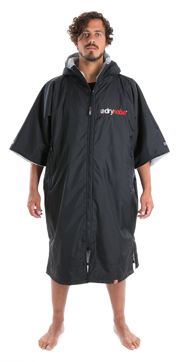 Dryrobe short sleeve changing robe - Black/ grey