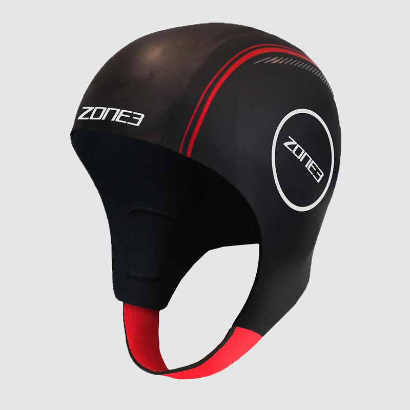 Zone3 Neoprene Black/Red Swim Cap