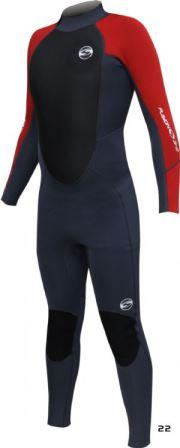Sola Men's Fusion 3/2mm red and black wetsuit