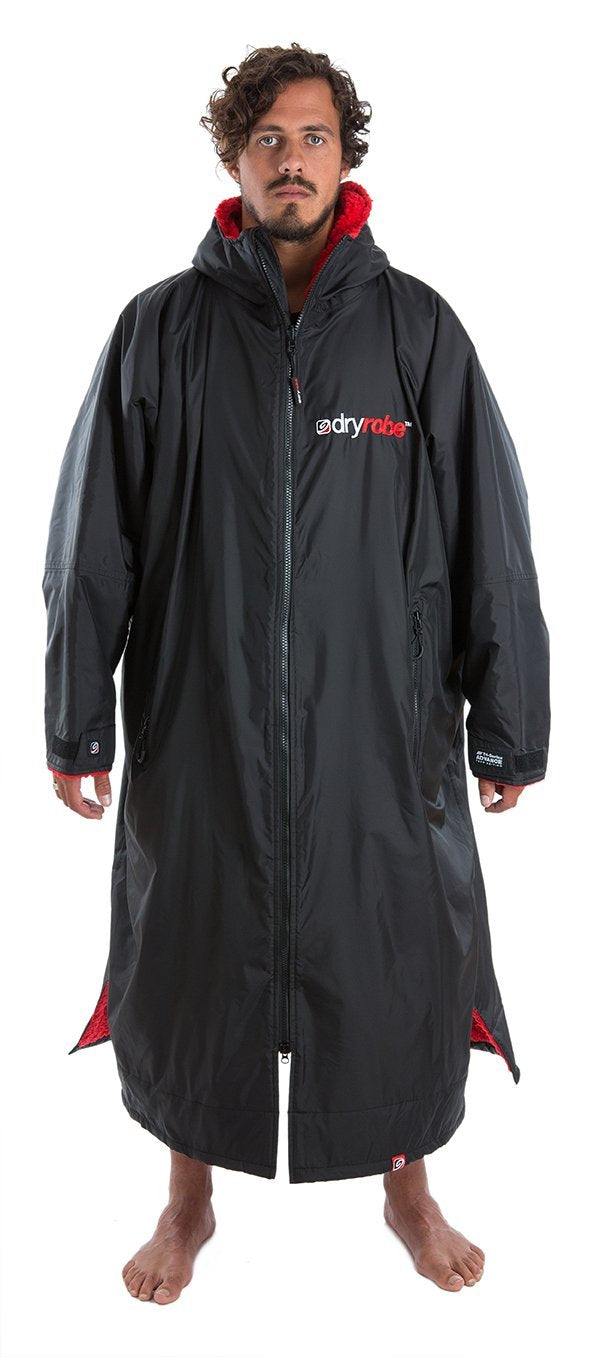 Dryrobe Long sleeve changing robe - Black/ red