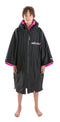 Kids Dryrobe short sleeve changing robe - Black/ pink