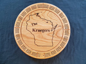 Round Personalized Cribbage Board