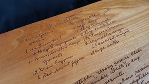 Handwritten Recipe Board