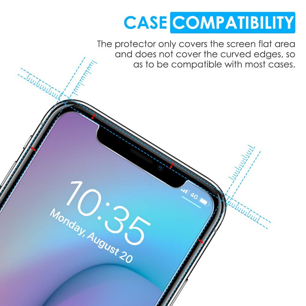 [4 Pack] Screen Protector for iPhone Xs/iPhone X, apiker Tempered Glass Screen Protector with [Alignment Frame] for iPhone Xs/iPhone X (5.8 Inch)
