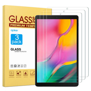 [3 Pack] 2019 Galaxy Tab A 10.1 Screen Protector, apiker High Definition Tempered Glass Screen Protector Fit for SM-T515/T510