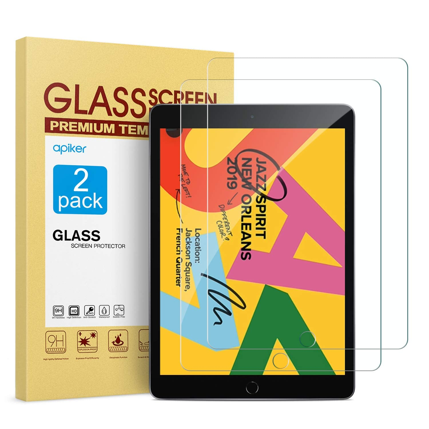 [2 Pack] Screen Protector for iPad 10.2 Inch 2019 Release, apiker Tempered Glass Screen Protector Compatible with Apple Pencil