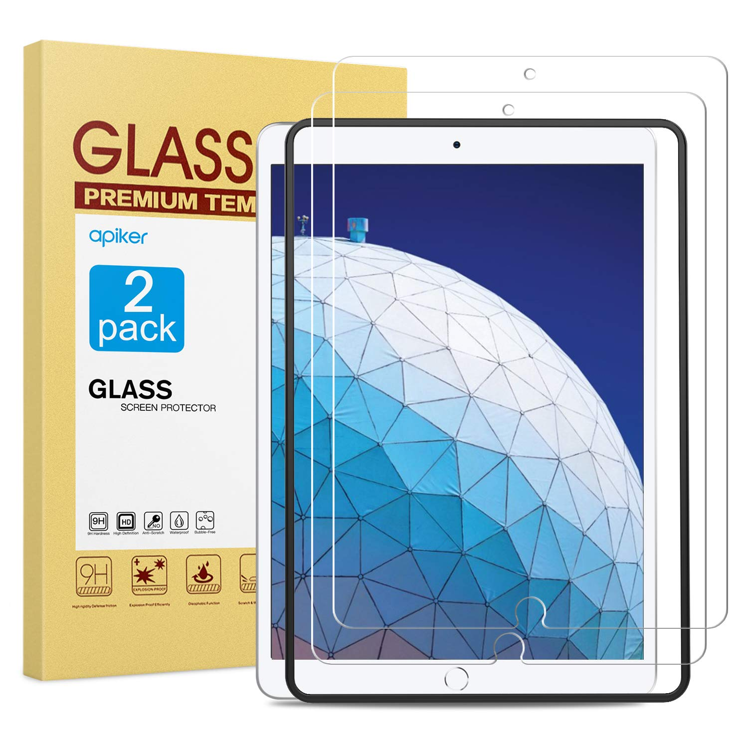 [2 Pack] Screen Protector for iPad Air 3 2019 / iPad Pro 10.5 Inch, apiker Tempered Glass Screen Protector with [Alignment Frame] [Apple Pencil Compatible]