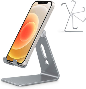 BestPu Adjustable Cell Phone Stand, Aluminum Desktop Phone Holder Dock Compatible with iPhone 11 Pro Max Xs XR 8 Plus 7 6, Samsung Galaxy, Google Pixel, Android Phones, Silver