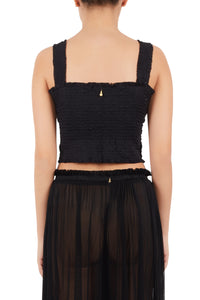 Eugenia black silk-tulle top