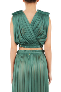 Antigone emerald green wrap top