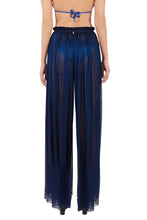 Load image into Gallery viewer, Tegea midnight blue crinkled silk-tulle pants