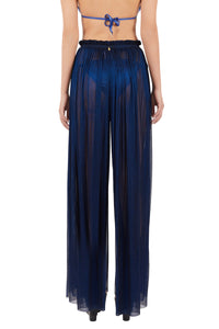 Tegea midnight blue crinkled silk-tulle pants
