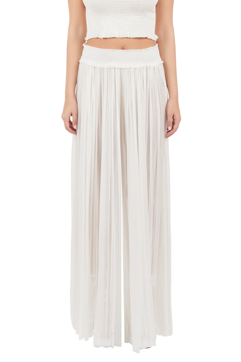 New Tegea white silk-tulle pants