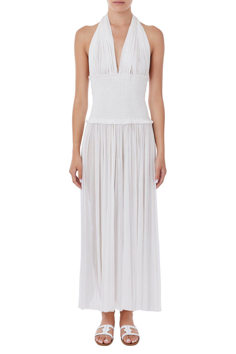 Tyche white silk-tulle jumpsuit