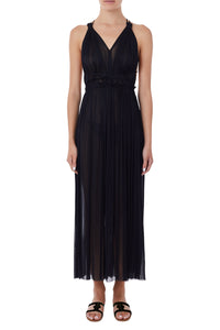 Nemea black silk-tulle maxi dress