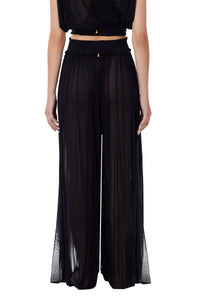 New Tegea black silk-tulle pants