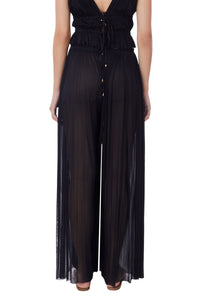 Melinoe black silk-tulle wrap pants