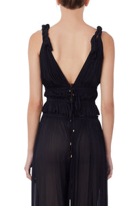 Aphrodite black pleated silk-tulle top