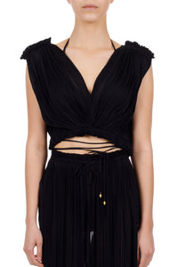 Antigone black wrap top