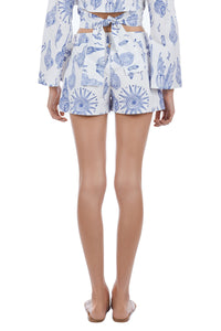Aktaia blue aquatic print shorts