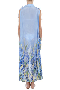 Zoe blue leaf print cover-up