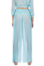 Load image into Gallery viewer, Tegea aqua crinkled silk-tulle pants