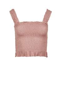 Eugenia nude silk-tulle top