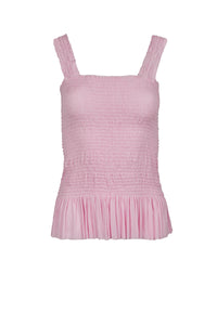 Eugenia light pink silk-tulle top