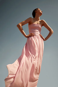 Nike light pink silk-tulle strapless dress