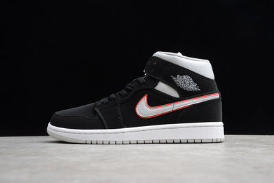 Jordan 1 Mid Black Particle Grey Gym Red