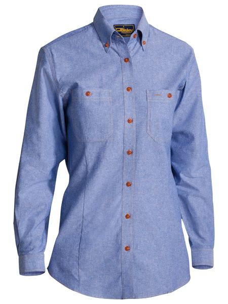 Ladies Long Sleeve Cotton Chambray Shirt