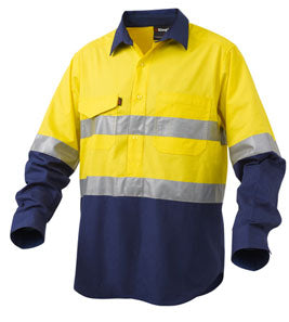 Workcool Long Sleeve 2 Tone Closed Front Shirt Taped