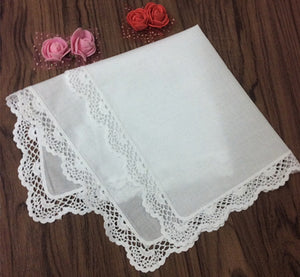 Set of 12 Fashion Women's Handkerchief White Cotton Wedding Handkerchiefs Embroidered Lace Edging Hankies Hanky For Bridal Gifts