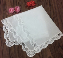Load image into Gallery viewer, Set of 12 Fashion Women's Handkerchief White Cotton Wedding Handkerchiefs Embroidered Lace Edging Hankies Hanky For Bridal Gifts